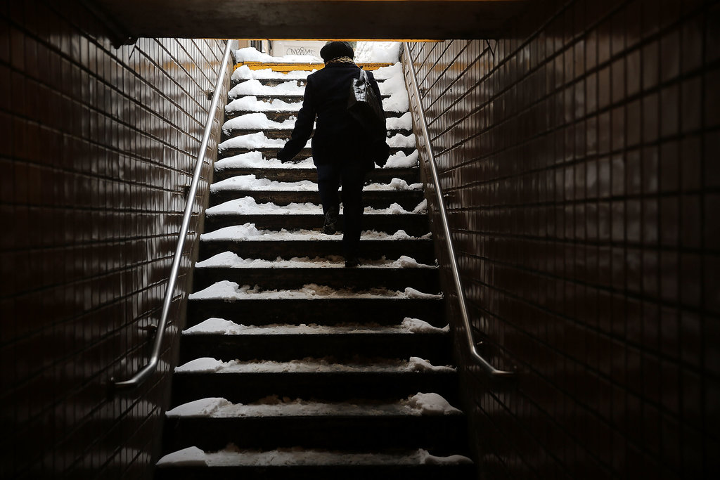 Snow made its way into the subway stops in Brooklyn, too, where a layer of snow covered the borough's subway stairs.