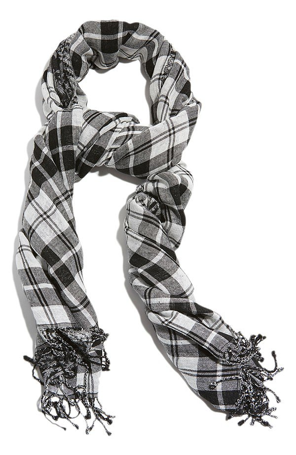 Lucky Brand Black and White Plaid Scarf