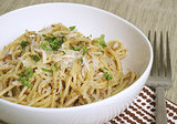 Spaghetti With Morel Shallot Pesto