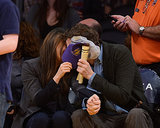 What Basketball Game? It's All About Ashton and Mila's Sweet Kiss