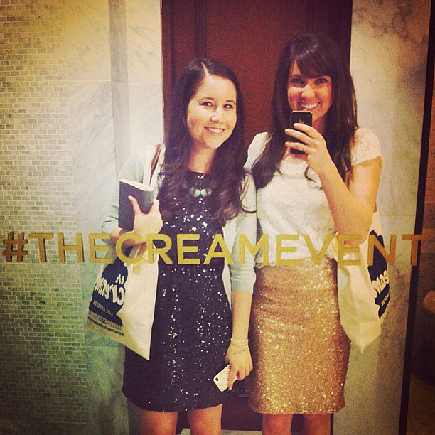 Yes, that's a hashtag decal on the bathroom mirror at The Cream event.