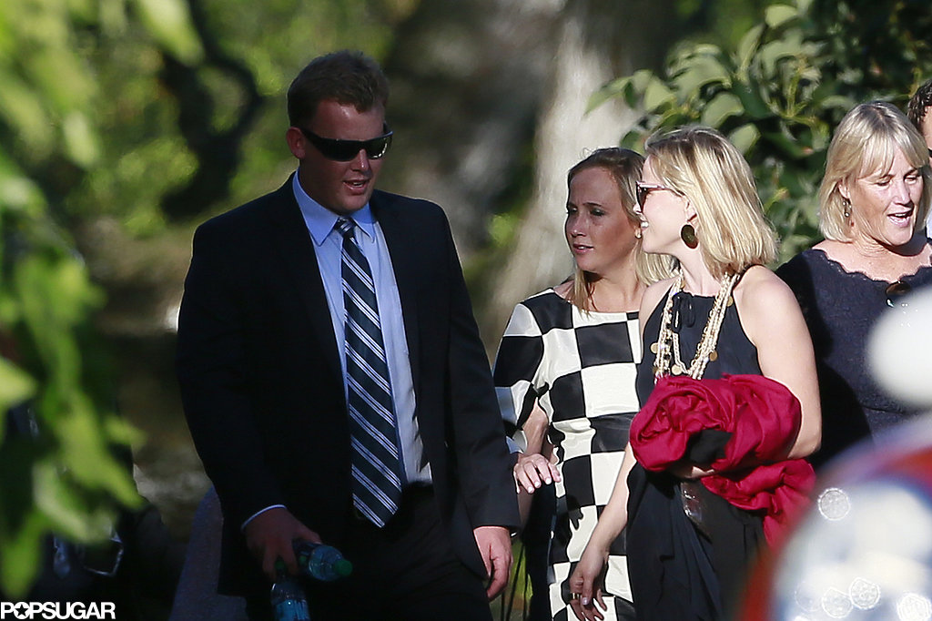 Reese wore a black dress to the nuptials.