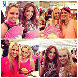 Cricket WAGs frocked up in pink for Jane McGrath Day on day three of the Sydney test. Source: Instagram user kylyclarke