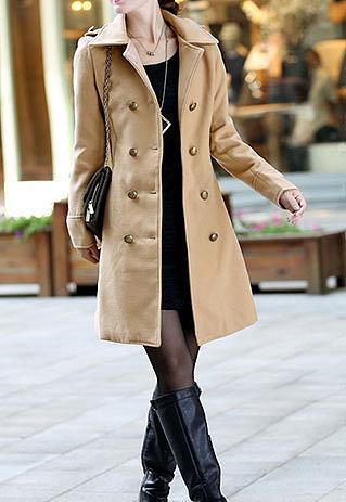Shouler Epaulet Double Breast Slim Fit Tunic Jacket Long Coat