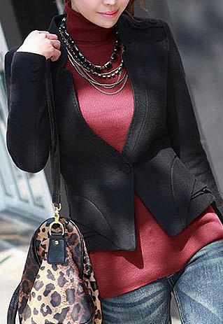 Image of [grzxy6600975]Short Jacket Slim Fit Coat Layered Hem Business Blazer for Office Ladies