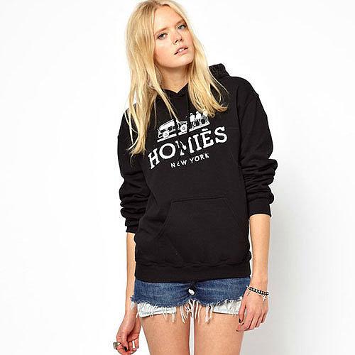 Image of [grxjy560790]Novelty Printed Big Pockets Drawstring Hooded Sweatshirt Black Pullover