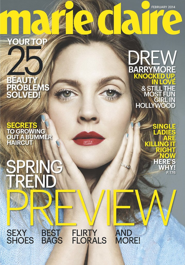 Drew Barrymore is featured on the cover of Marie Claire's February 2014 issue. Source: Jan Welters/Marie Claire