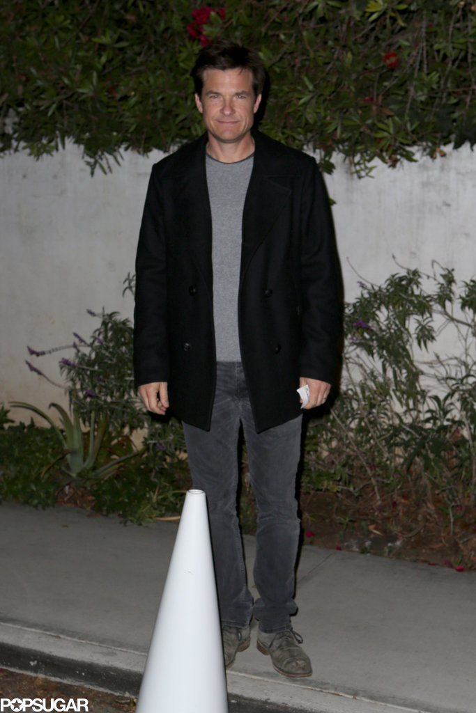 Jason Bateman smiled while walking to Bradley's birthday party.