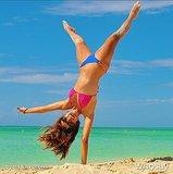 In Summer 2013, Nina did a cartwheel on the beach. Source: WhoSay user ninadobrev