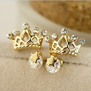 Stars crown earrings set ear stud gift