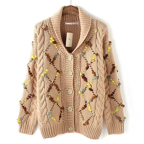 Image of [grxjy560802]Mixed Color Chunky Knit Patterned Sweater Warm Cardigan Coat