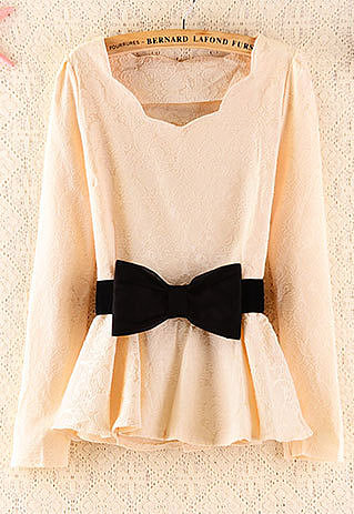 Image of  [grzxy6600200]Elegant Floral Pattern Slim Bowknot Dress