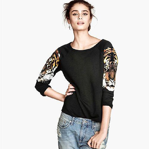 Image of [grxjy560801]Wild Tiger Head Print Black Three Quarter Sleeves Sweatshirt Pullover