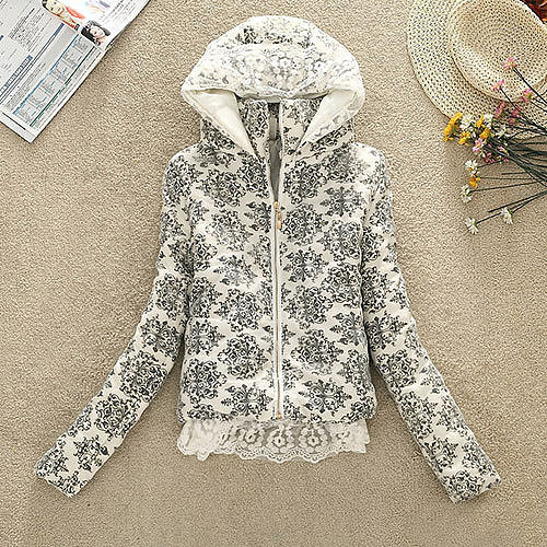 Image of [grxjy560796]Polka Dots Crown Flowers Print Crochet Lace Padded Jacket Hooded Coat