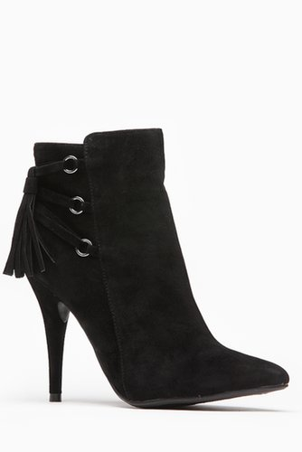 Anne Michelle Pointed Toe Fringe Tassel Faux Suede Bootie - What's New