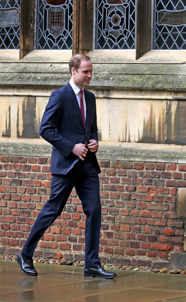 Prince William strolled through St. John's College in Cambridge.