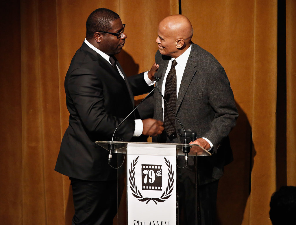 Legendary actor Harry Belafonte brought 12 Years a Slave director Steve McQueen to tears when presenting him with his best director award.