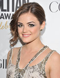 Even Lucy's updos have a slight lilt to the right. At the Cosmopolitan Fun Fearless Men and Women of 2012 gala, her hair was slicked back with a curled bang on one side.