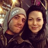 Bryan Greenberg and Laura Prepon tried to stay warm on the set of their current project.  Source: Instagram user bryangreenberg
