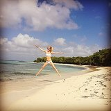 "Poppy Delevingne gave her fans a ""jumping in the air in a tiny bikini"" social snap during her recent beach holiday in January 2014. Source: Instagram user poppydelevingne"