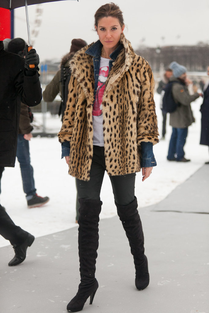 With a leopard-print coat in your arsenal, it's easy to replicate the rocker-cool Kate Moss effect, à la this street style pro. It transforms basics and is always the statement-making complement to a cool tee and jeans.  Source: Le 21ème | Adam Katz Sinding