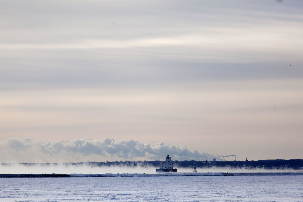 Steam rose off the water along the shore of Lake Michigan in Milwaukee, WI.