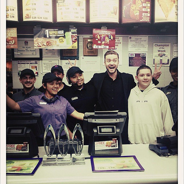 Justin Timberlake celebrated his big People's Choice Awards wins at — where else? — Taco Bell. Source: Instagram user justintimberlake
