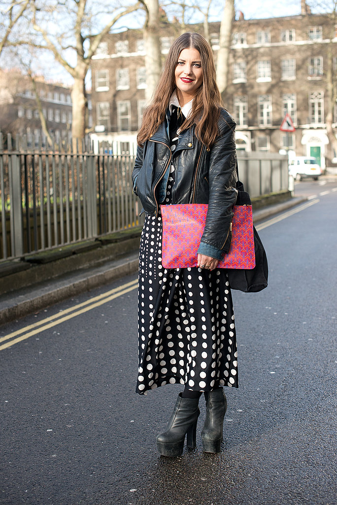 She managed to pull together a rocker-cool jacket and a peppy bit of mod-inspired print.