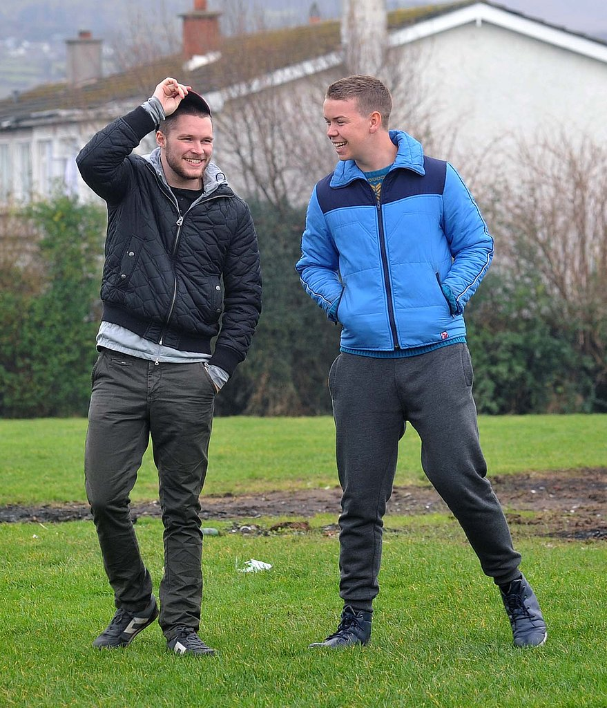 Jack Reynor and Will Poulter buddied up on the set of Glassland in Dublin, Ireland, on Wednesday.