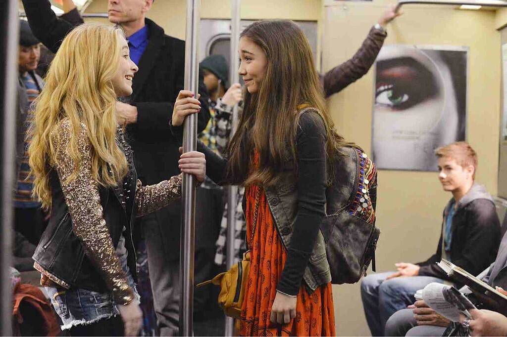 Sabrina Carpenter shared a peek at an episode with her costar, Rowan Blanchard, who plays Cory and Topanga's daughter. Source: Twitter user SabrinaAnnLynn