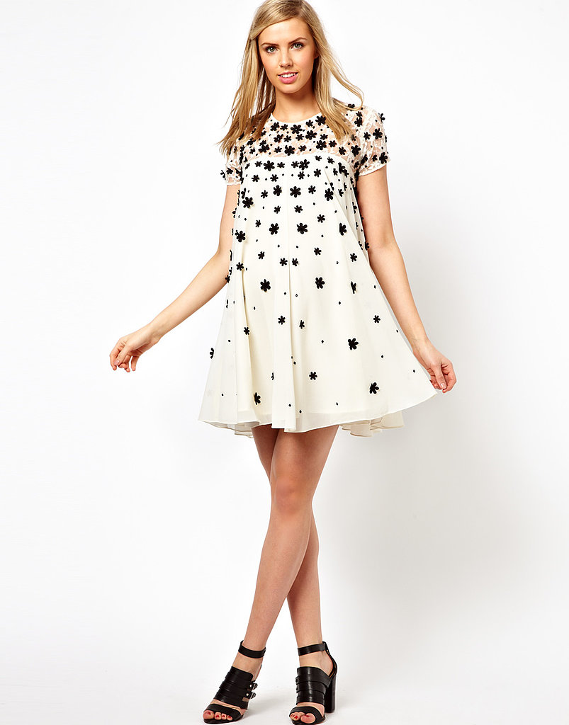 ASOS Swing Dress With Floral Appliqué