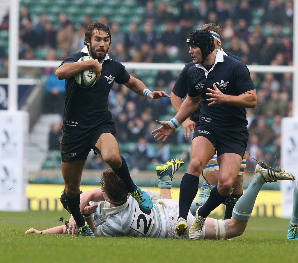 Lest we forget, Matt's a champion rugby player. Here he is in action in December 2013 at the Oxford vs. Cambridge match.
