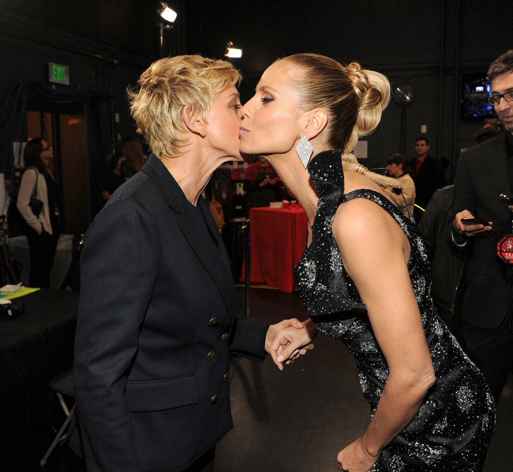 Heidi sealed her star-studded night with a kiss from Ellen.
