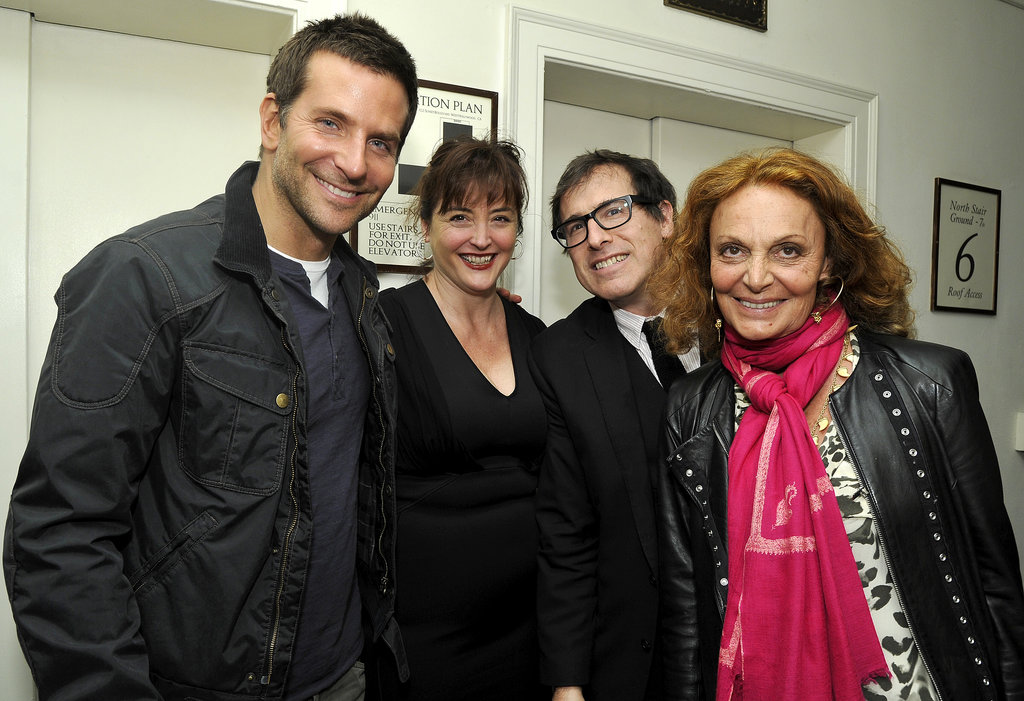 Bradley Cooper chatted with Diane von Furstenberg, David O. Russell, and David's ex-wife, Janet Grillo.