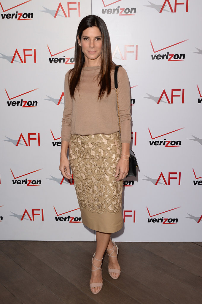 Sandra Bullock went with a casual look.