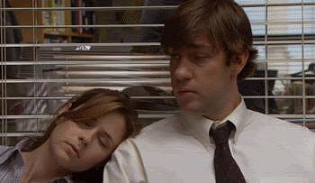 "Then, at the end of Michael's so-called ""Diversity Day,"" Pam falls asleep on Jim's shoulder and they share a sweet moment when he wakes her up."
