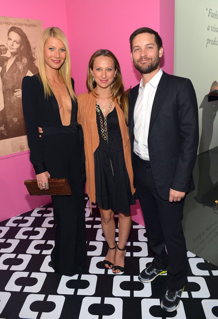 Gwyneth Paltrow, Jennifer Meyer, and Tobey Maguire met up inside the Journey of a Dress event on Friday.