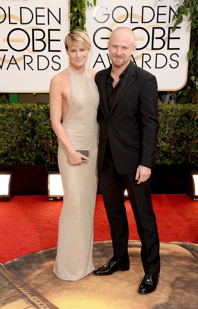 Newly engaged couple Robin Wright and Ben Foster posed for pictures.