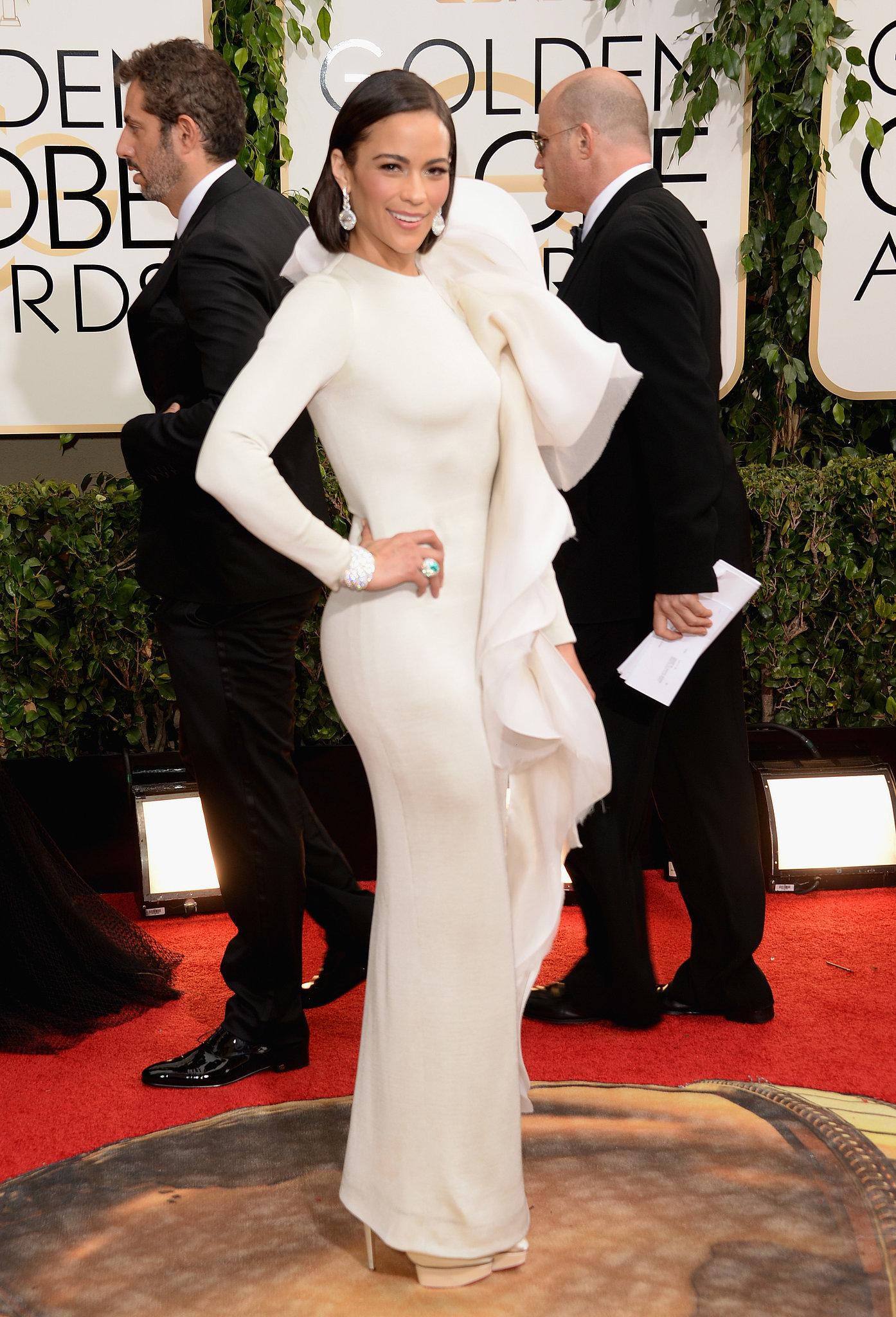 Paula Patton wore a dramatic white gown.