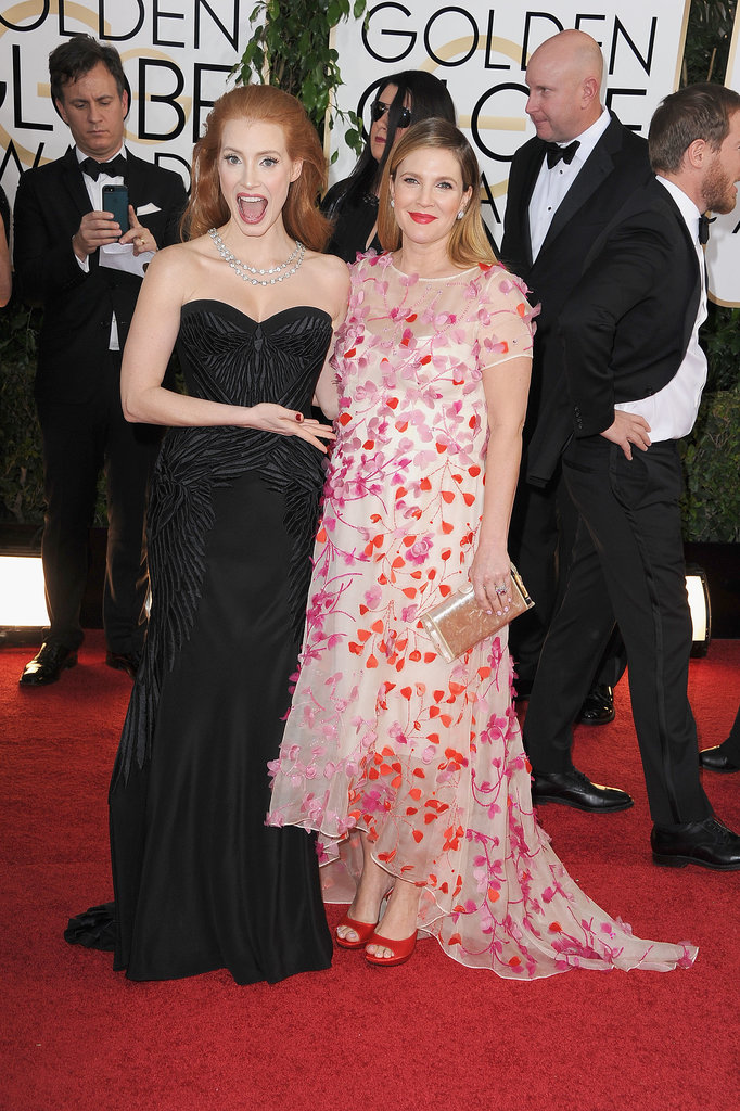 Jessica Chastain couldn't contain her excitement for Drew Barrymore's baby bump at the Golden Globes.
