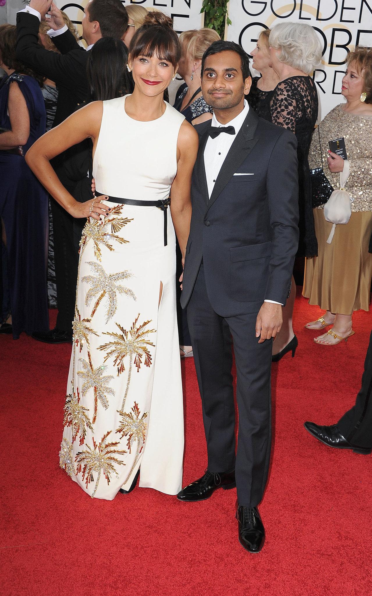 Parks and Recreation stars Rashida Jones and Aziz Ansari posed for photos together