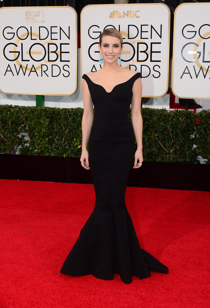 Emma Roberts looked lovely in a black off-the-shoulder gown.