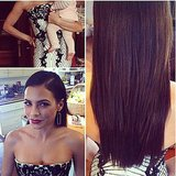 Jenna Dewan held on to little Everly while getting primped. Source: Instagram user jenatkinhair