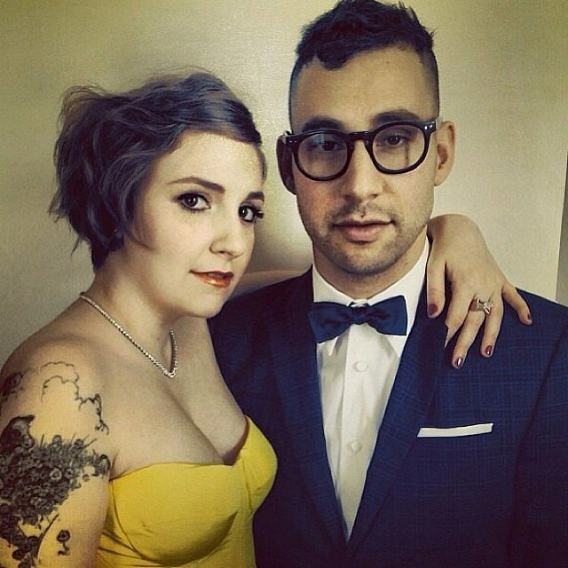 Lena Dunham posed with her boyfriend, Jack Antonoff, ahead of the Golden Globes. Source: Instagram user jostrettell