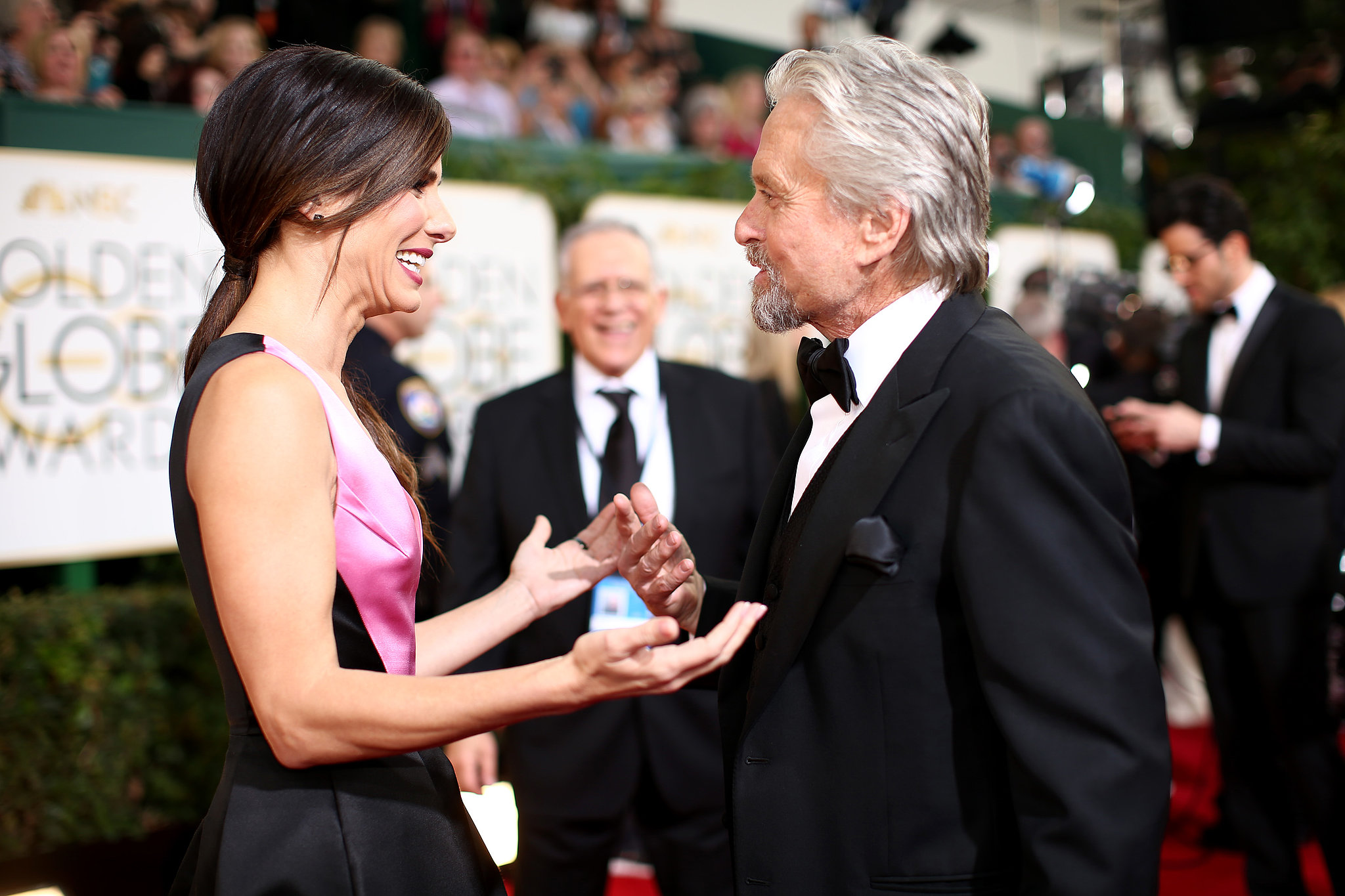 Sandra Bullock got animated with Michael Douglas.