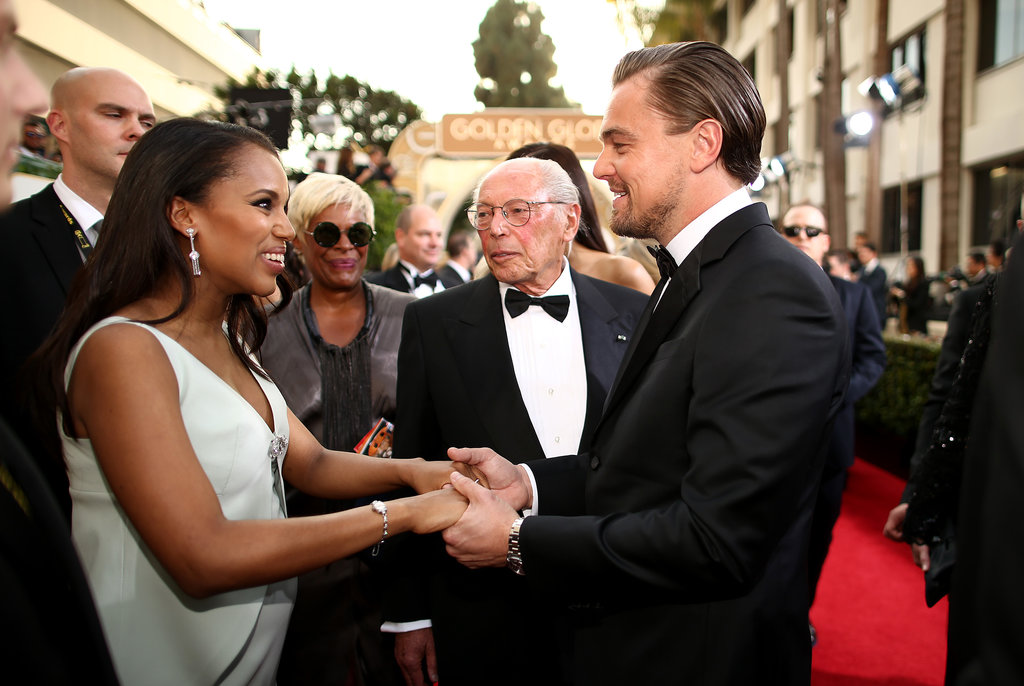 Leo chatted up Kerry Washington on the carpet.