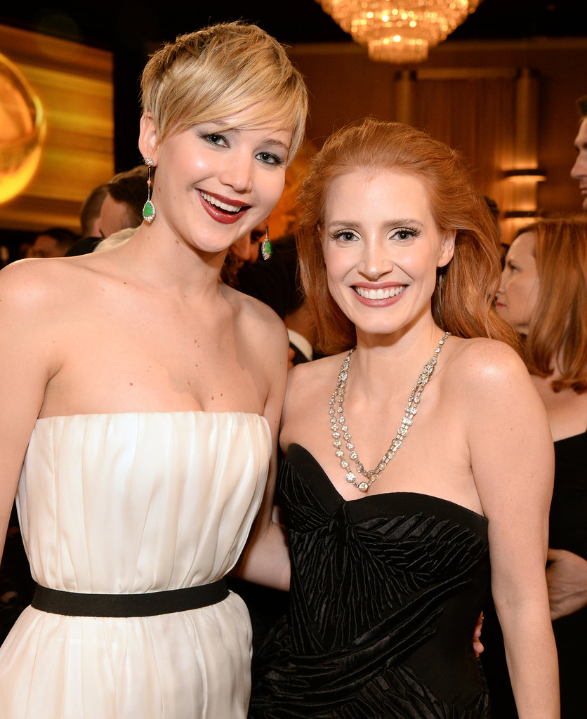 Jennifer Lawrence and Jessica Chastain had matching smiles.