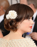 A perfect shot of Zooey's blooming custom Jennifer Behr hair piece.