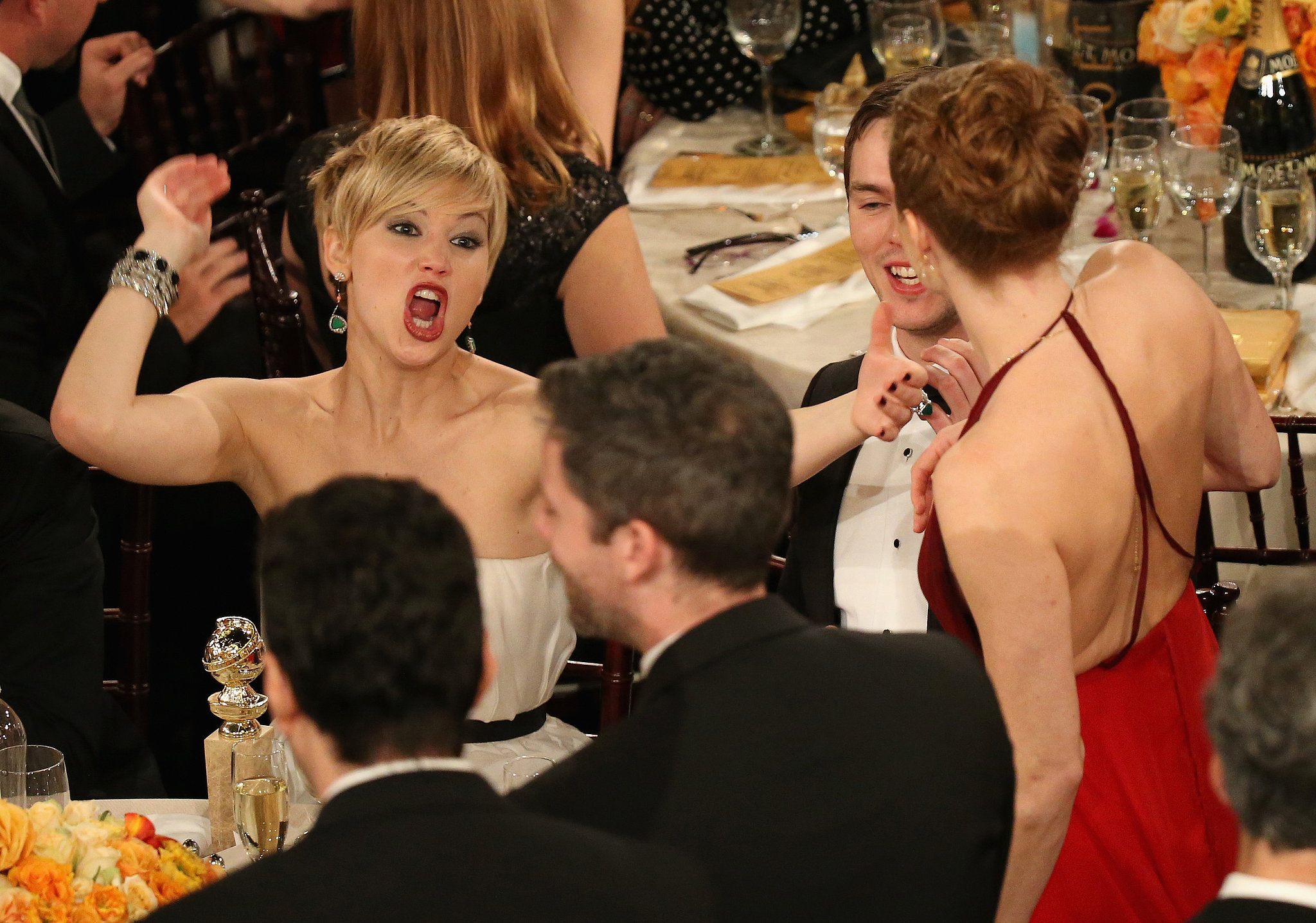 Jennifer Lawrence couldn't contain her excitement when Amy Adams won best actress for American Hustle. Source: Christopher Polk/NBC/NBCU Photo Bank/NBC