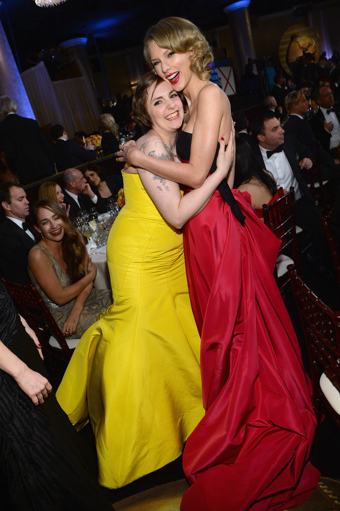 Taylor Swift and Lena Dunham had a girls moment.  Source: Larry Busacca/NBC/NBCU Photo Bank/NBC